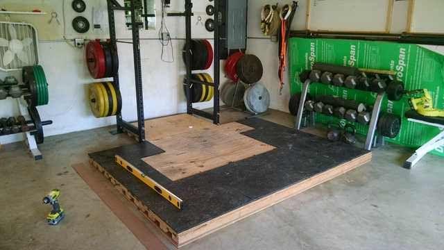 Leveling garage gym platform home gym diy home gym garage gym