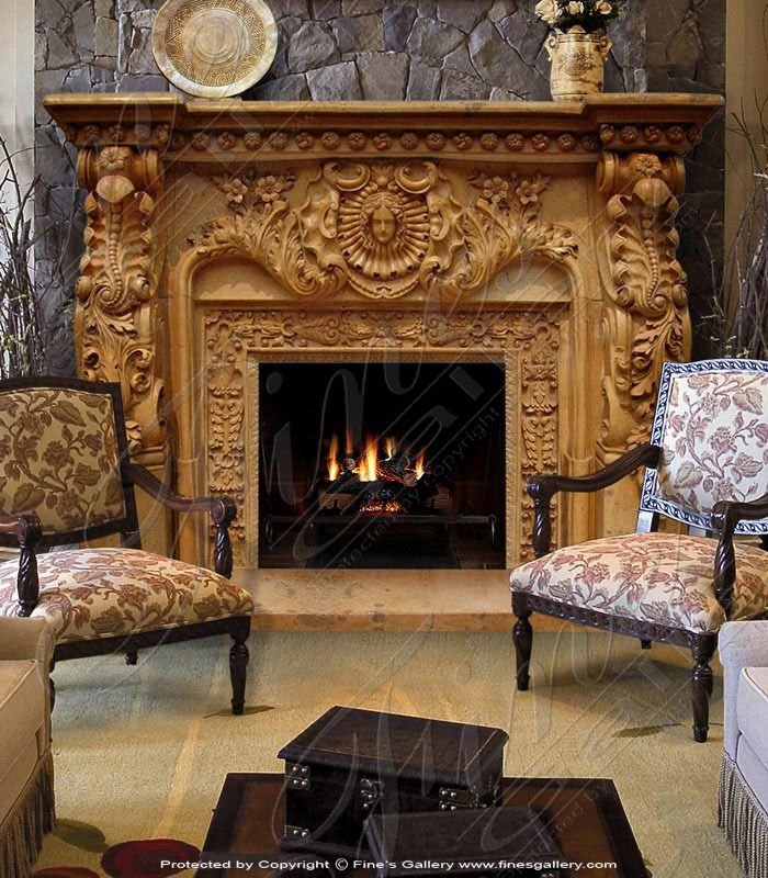 Artistic Gold Marble Fireplace Surround