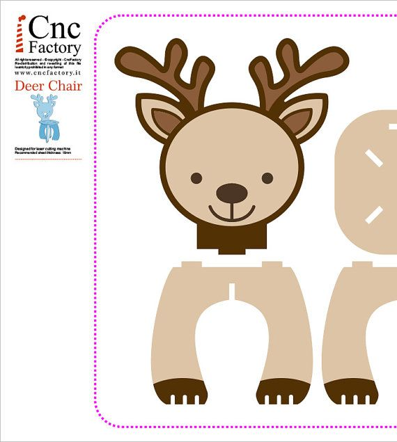 DEER CHAIR Cnc Template Cutting File Wooden Cardboard Step