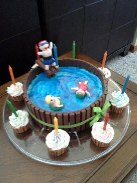 Swimming pool cake my creations pinterest pool cake cake and cup cakes for Swimming pool birthday cake pictures