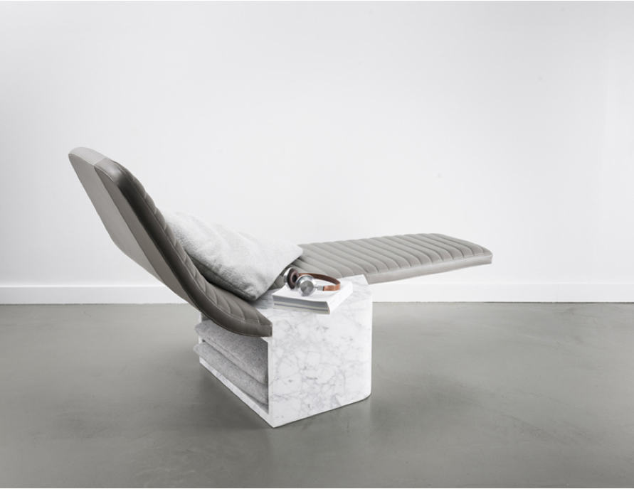 Grégoire De Lafforest For Galerie Gosserez  Imaginative Light Leather Lounge Seat Opper With Heavy Marble.