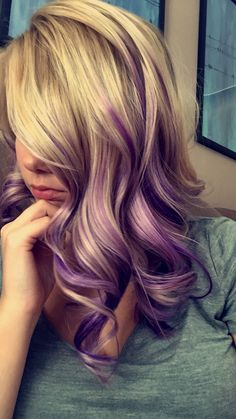 Purple And Blonde Hair With Images Hair Color Purple