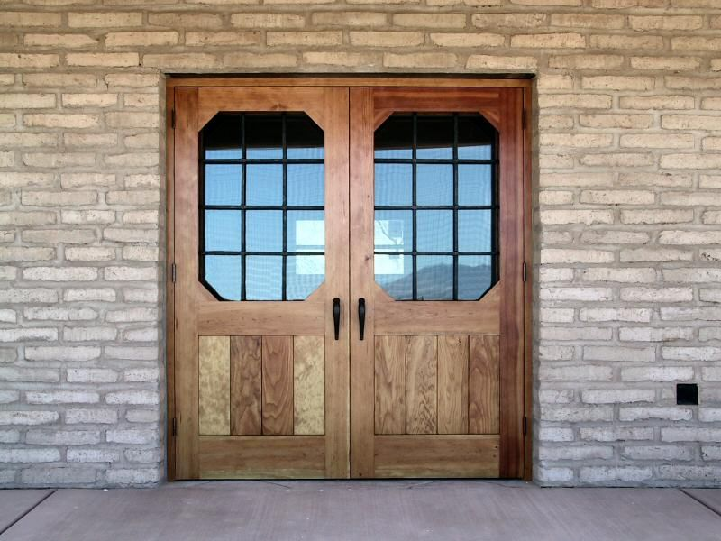 Double Rustic Windows : Rustic style double entry doors with
