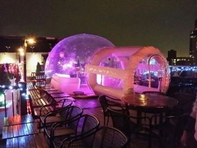 New weather-proof bubble tent igloo on 230 FIFTH's roof ...