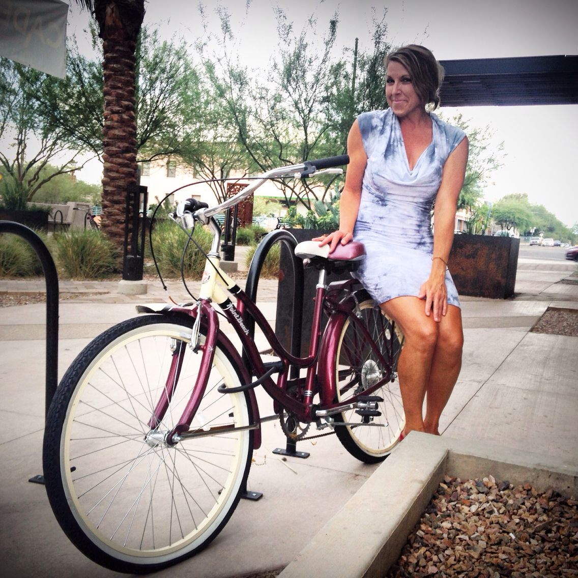 Gals on cruiser bicycles are so darn cute! Carleen is a huge cyclist and loves our organic cowlneck dress made in Los Angeles! Come visit our Tucson clothing store for only American-made women's fashion and we feed 12 emergency meals to Americans in need per item sold! #ethicalfashion #dresses #fashion #organic #madeinamerica #fashionrevolution