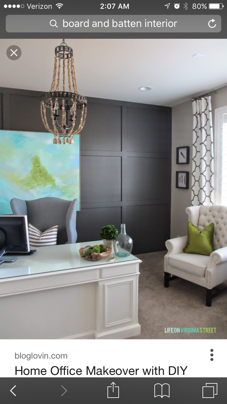 home office makeover pinterest. Brilliant Office Home Office Makeover Reveal Painted Walls With Raised Wall Panel Effect  White Desk And Graywhite Patterned Drapes Intended Pinterest