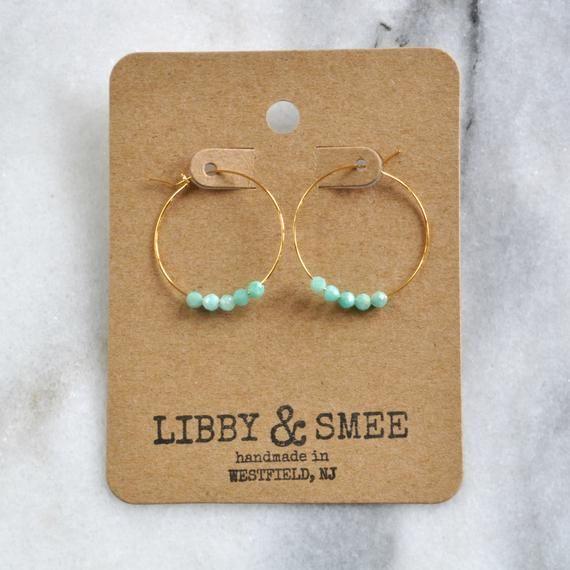 Photo of Small Amazonite Beaded Hoop Earrings Tiny Hoop Earrings | Etsy