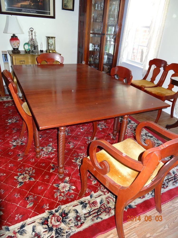 Vintage Willett Solid Cherry Dining Table With 6 Chairs Antique Dining Room Table Dining Table Chairs Wood Dining Table