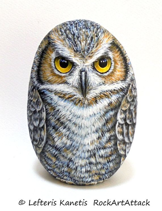 Great Owl Painted Rock   Is Painted with high by RockArtAttack