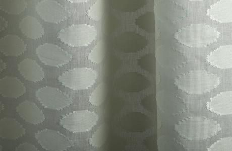 Discount Linen Sheer Drapery Fabric With Raffia Circles In Natural