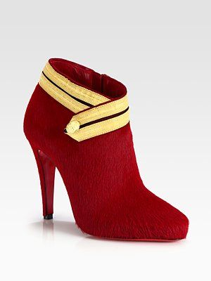 buy popular 7affc 2311c Christian Louboutin - Pony Hair and Ribbon-Detail Ankle ...