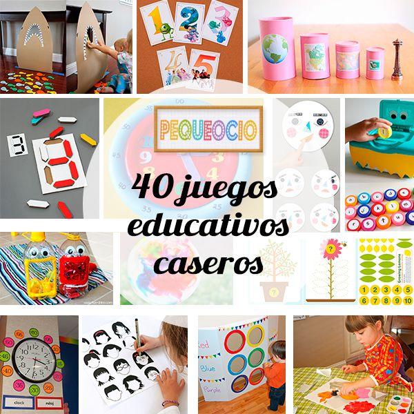 40 Juegos Educativos Caseros Pequeocio Juegos Educativos Juegos Educativos Para Niños Juegos Educativos Preescolar