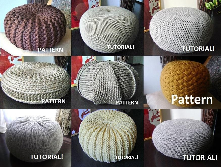9 knitted crochet pouf floor cushion crochet pouf for Floor knitting
