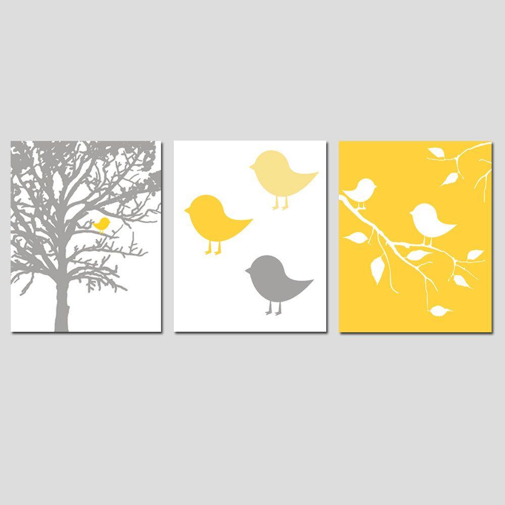 Modern Bird Trio - Set of Three 8x10 Prints - Yellow, Gray, Pink ...