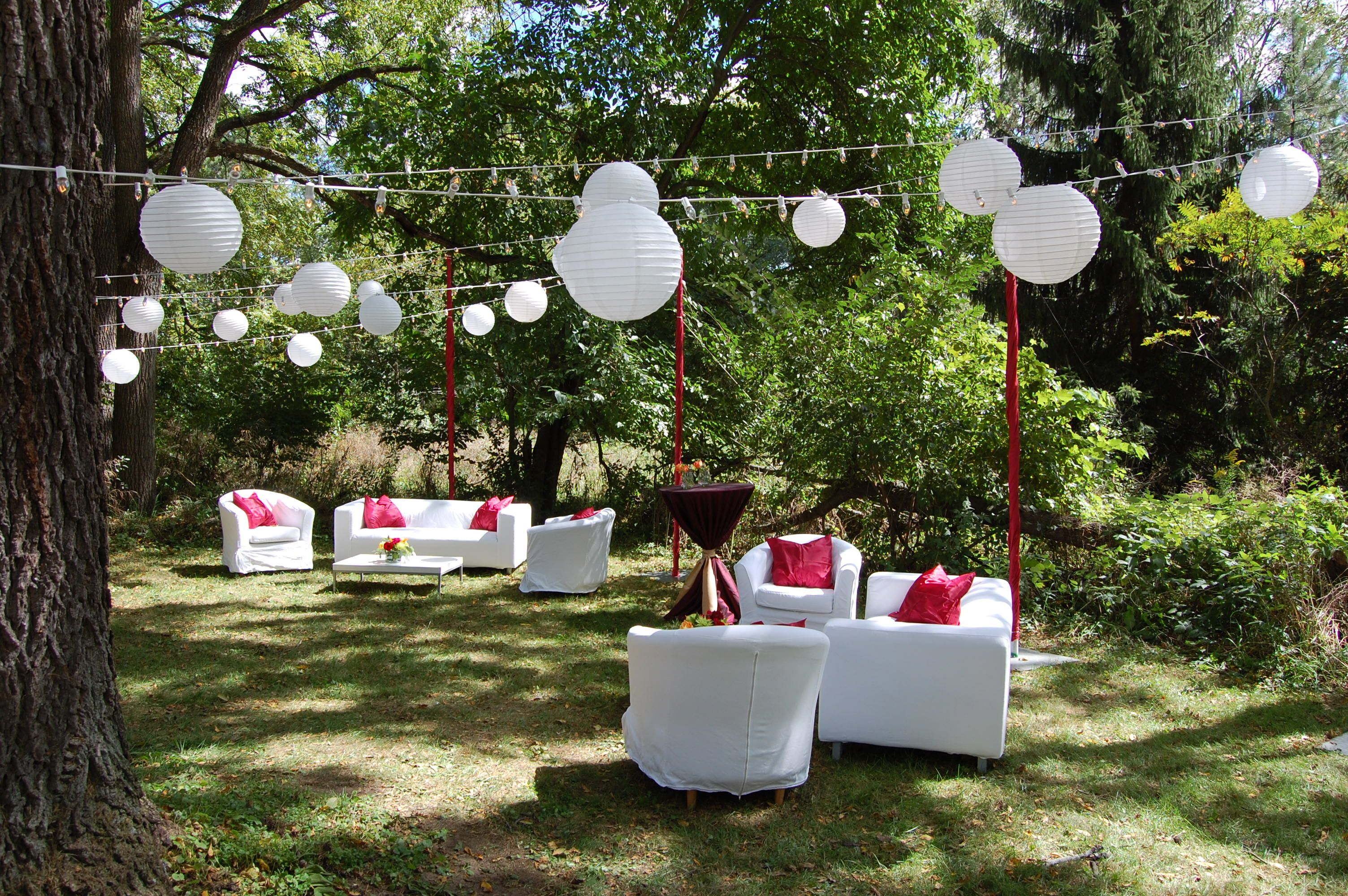 Paper Lanterns - #paperlanterns #outdoorevent #loungearea #ColonialEvents