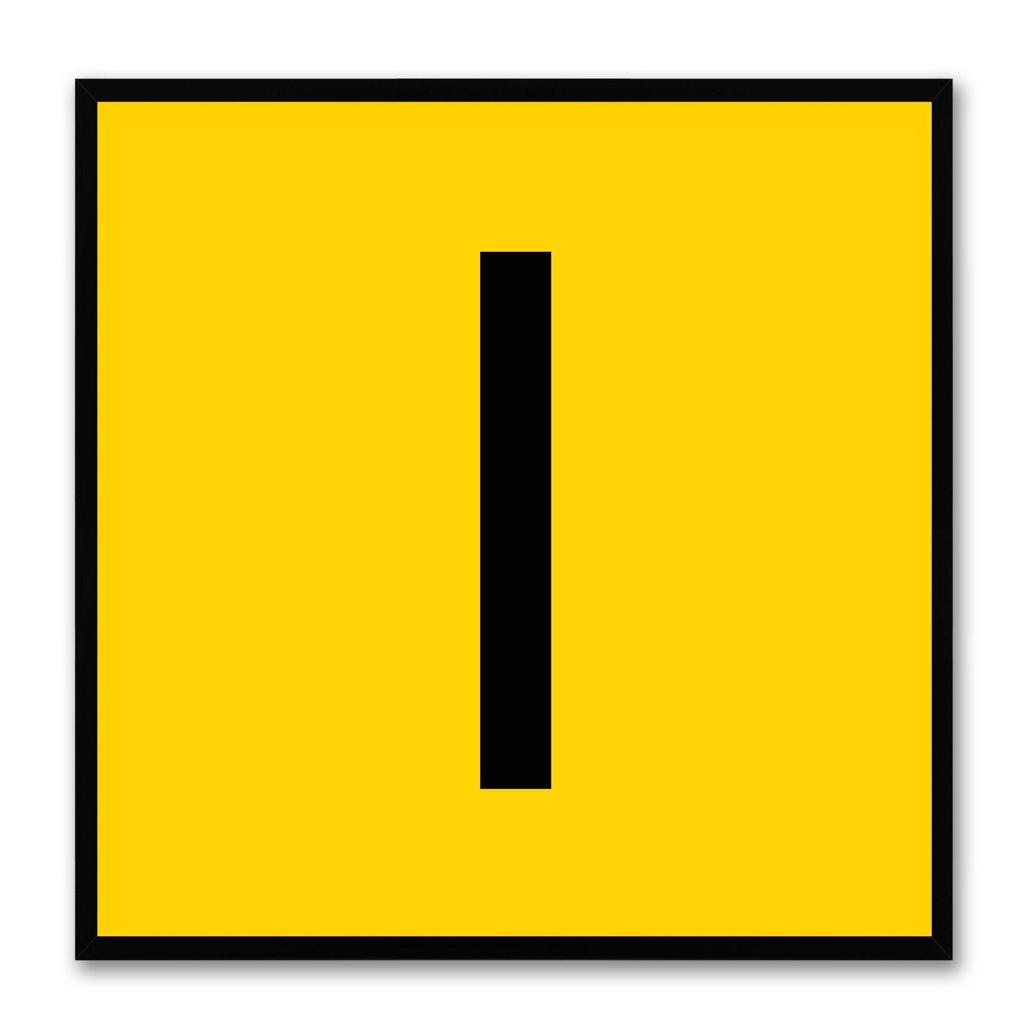 Alphabet I Yellow Canvas Print Black Frame Kids Bedroom Wall Décor ...