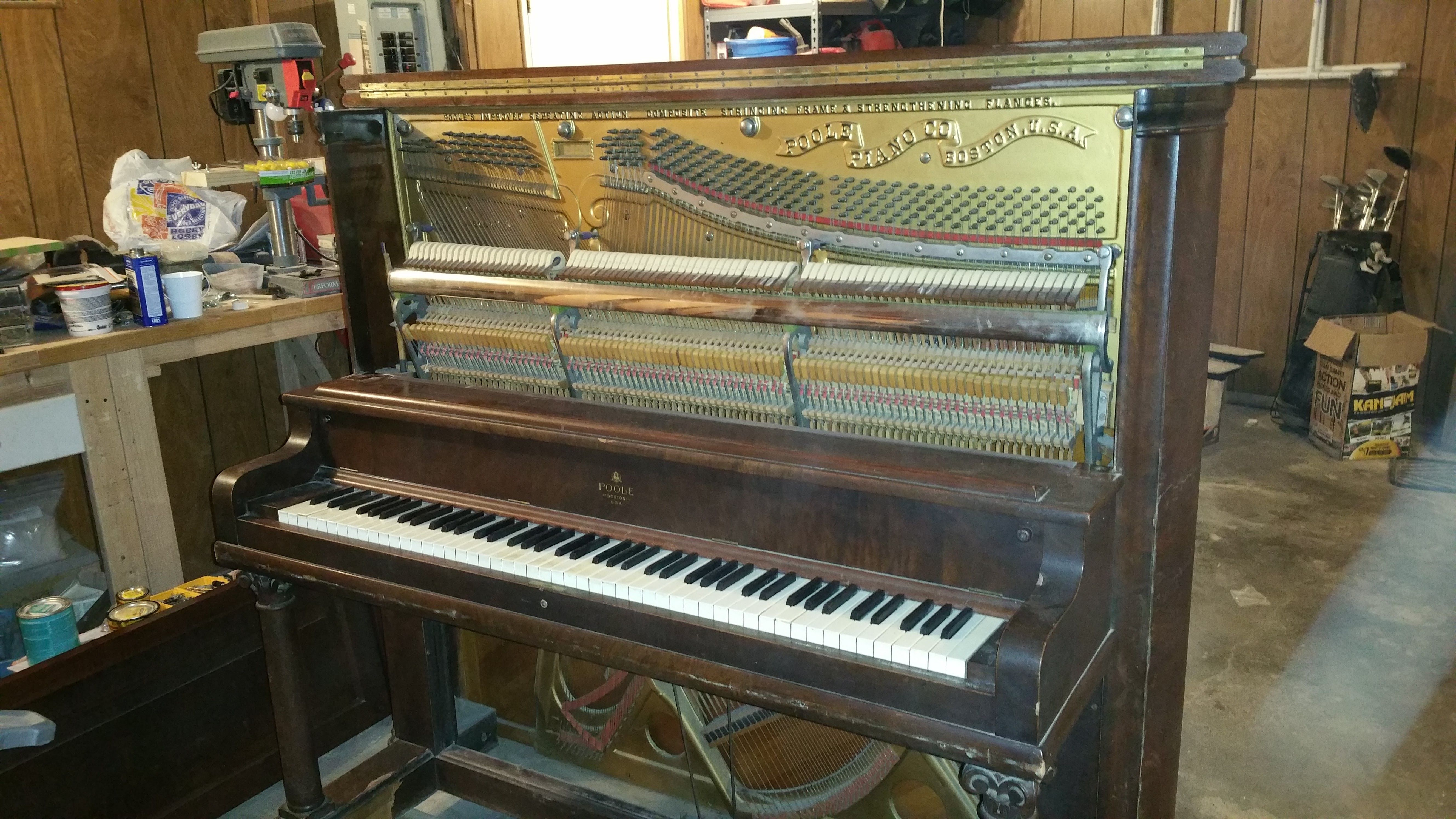 Converting a 100 year old upright grand piano to a bar