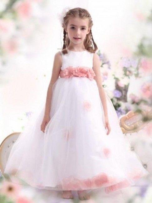 00636aac23de CLAUDIA - Abito da cerimonia bambina confezionato in raso e tulle con  scollo dolce vita e