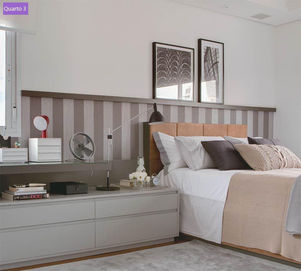 Imagem54 Bedroom Pinterest Papel De Parede Diferente  ~ Prateleira No Quarto De Casal E Tinta Para Parede Quarto