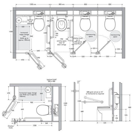 Cabine salle de bain PMR France Equipement bina bilgisi - plan cuisine restaurant normes