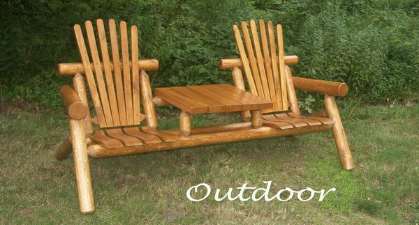 Rustic White Cedar Log Outdoor Furniture