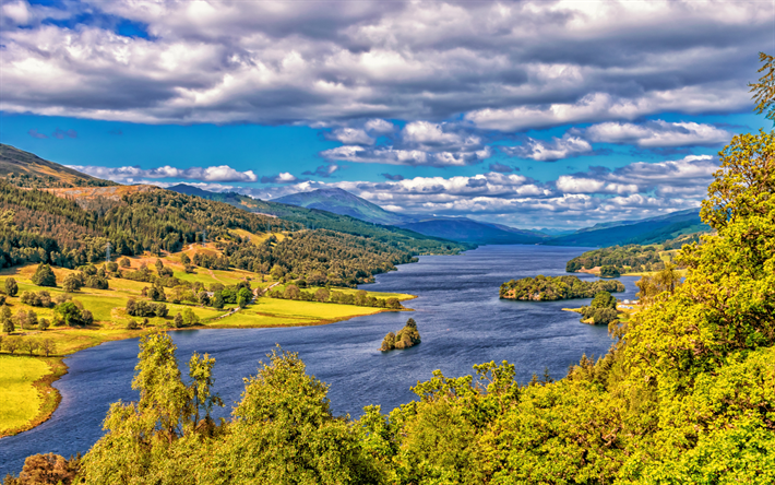 Download Wallpapers Scotland 4k Lake Hills Hdr Forest