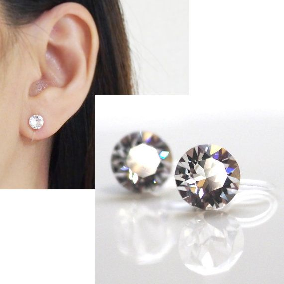 Crystal Swarovski Invisible Clip On Earrings Non Pierced