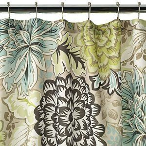 Reiko+Floral+Brown+Green+Blue+Shower+Curtain+NEW+Home+Classics+Tan ...