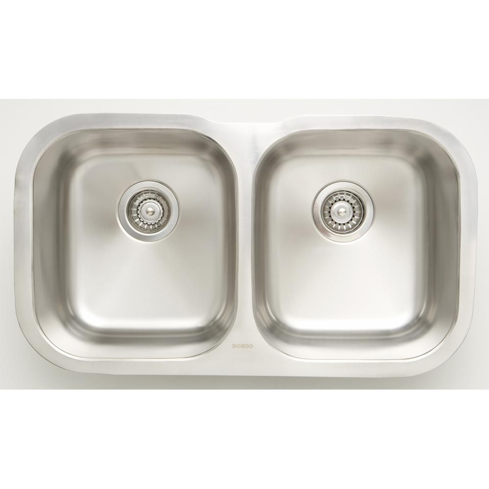 16 Gauge Sinks All In One Undermount Stainless Steel 29 In 50 50 Double Bowl Kitchen Sink In Chrome Silver Double Bowl Kitchen Sink Sink Kitchen Sink Design