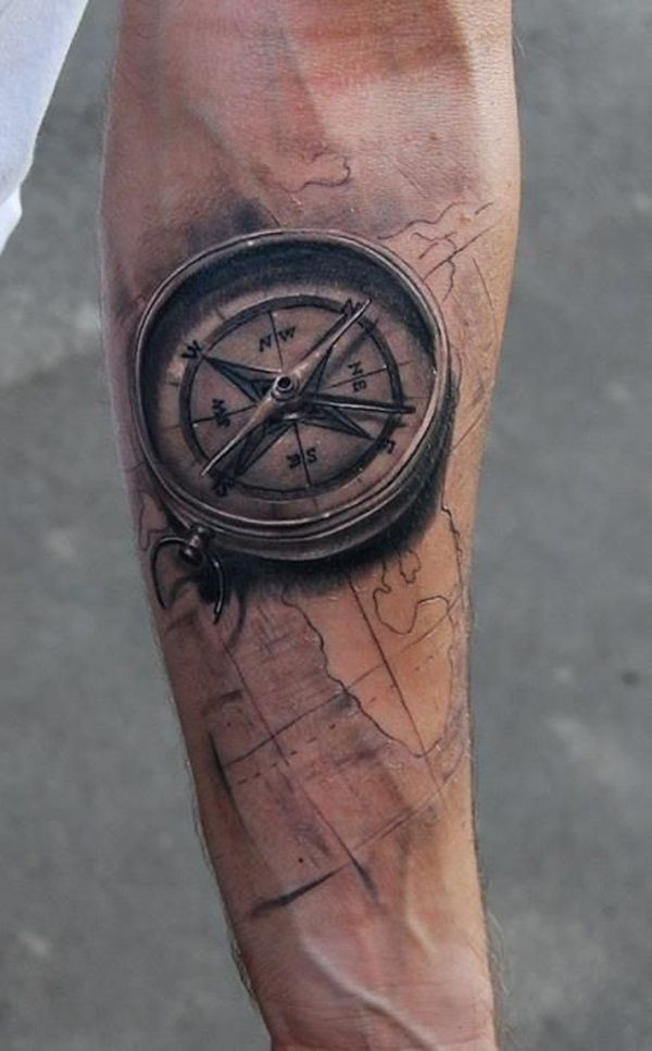 54e19e73a1f60 Black Ink 3D Compass With Map Tattoo On Forearm | Tattoos | Compass ...