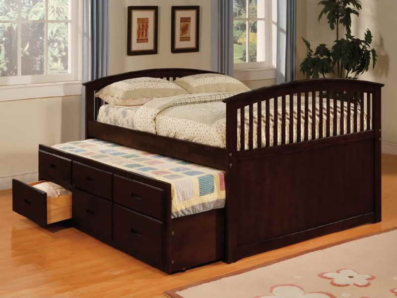 Adorable Brown Trundle Bed Plans For Adults Full Size Trundle
