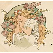 SALE Original 1900 Alphonse Mucha French Postcard of Blonde Woman
