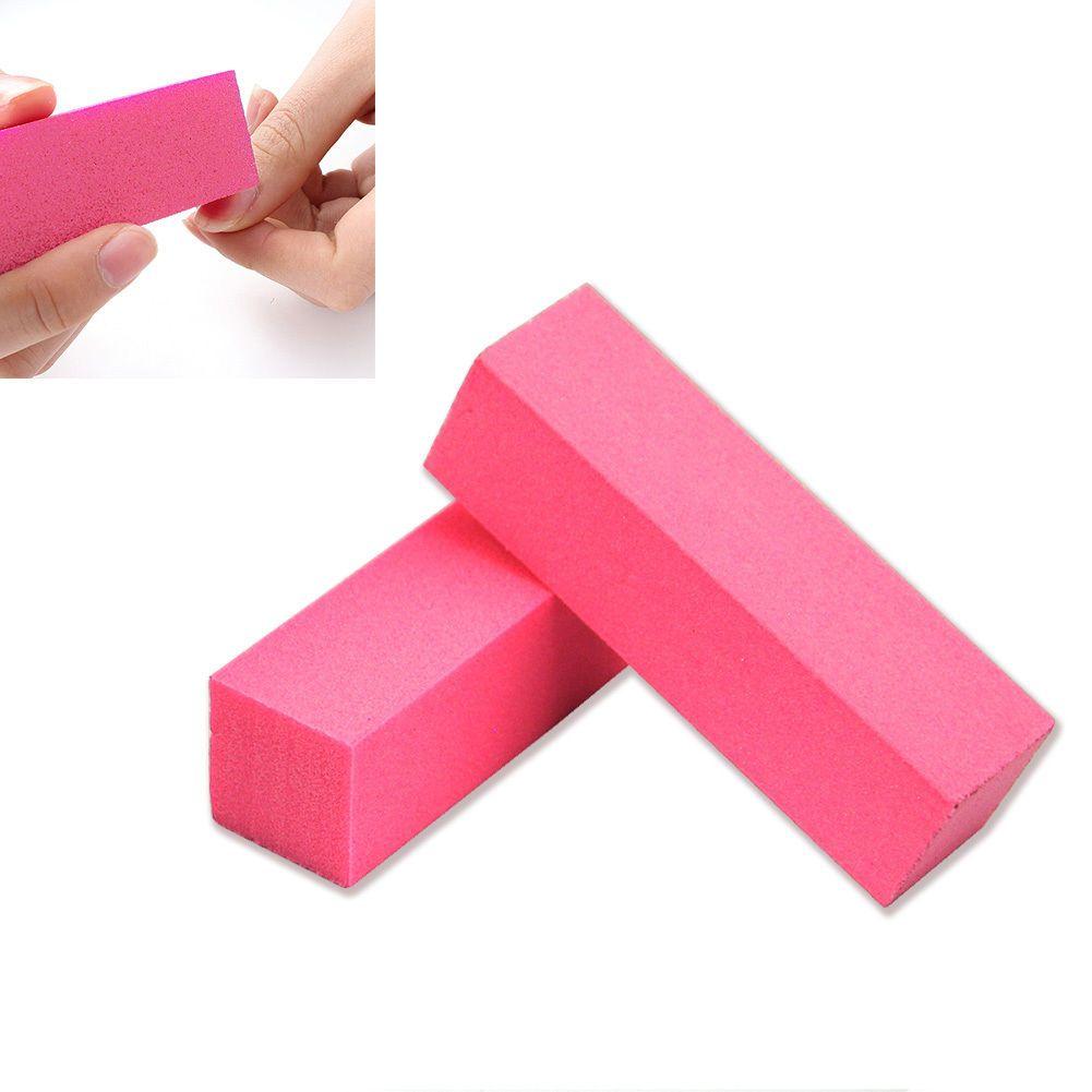 2x Pink Nail Art Tips Buffer File Block Pedicure Manicure Buffing ...