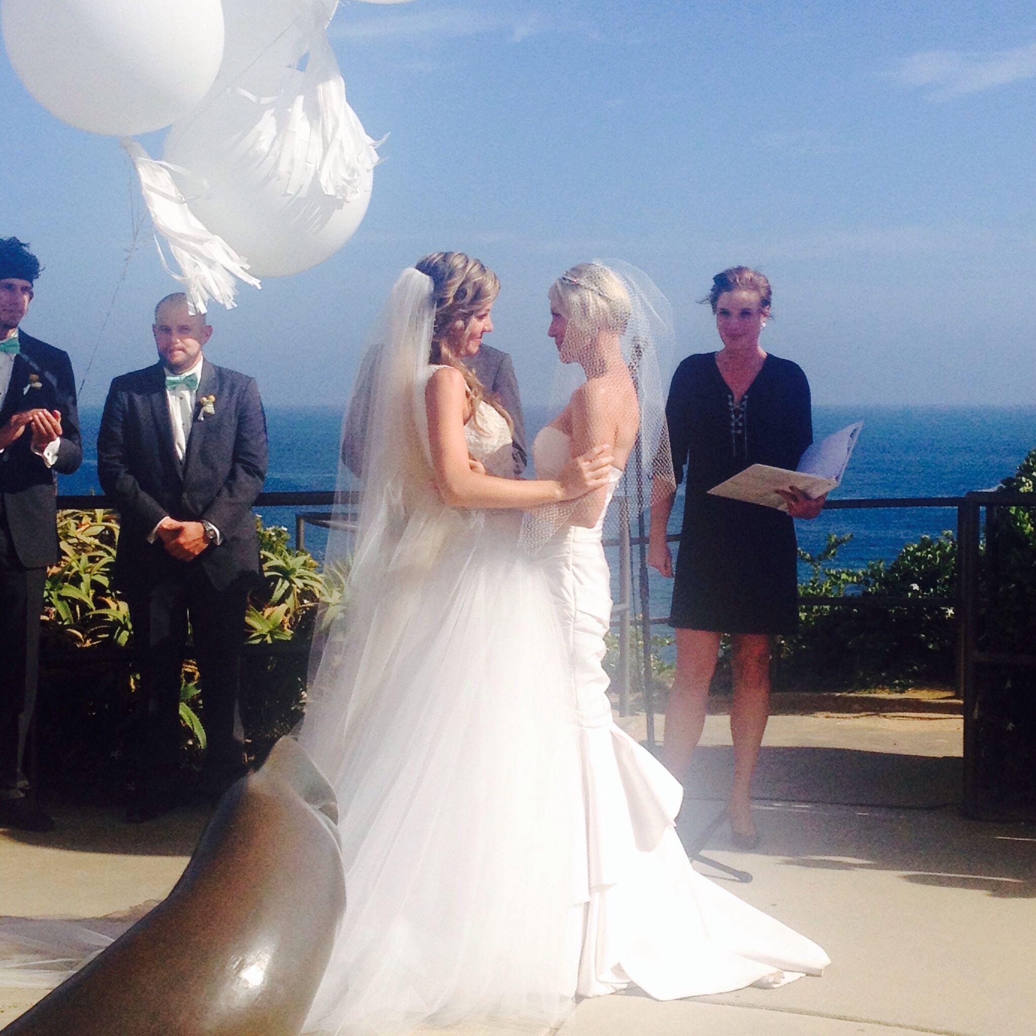 Lesbian Wedding Crescent Bay Park In Laguna Beach Dresses From Erin Cole Designers