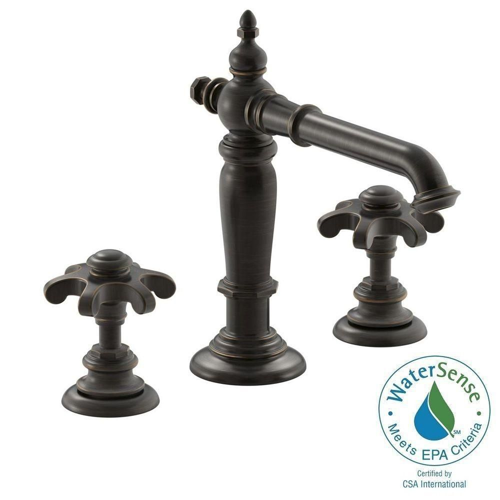 Kohler Artifacts 8 In Widespread 2 Handle Column Design Bathroom Faucet Oil Rubbed Bronze With G Handles