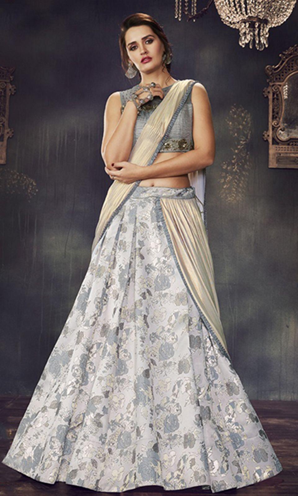 Gray and #OffWhite Designer Wear #LehengaSaree | wedding dress ...