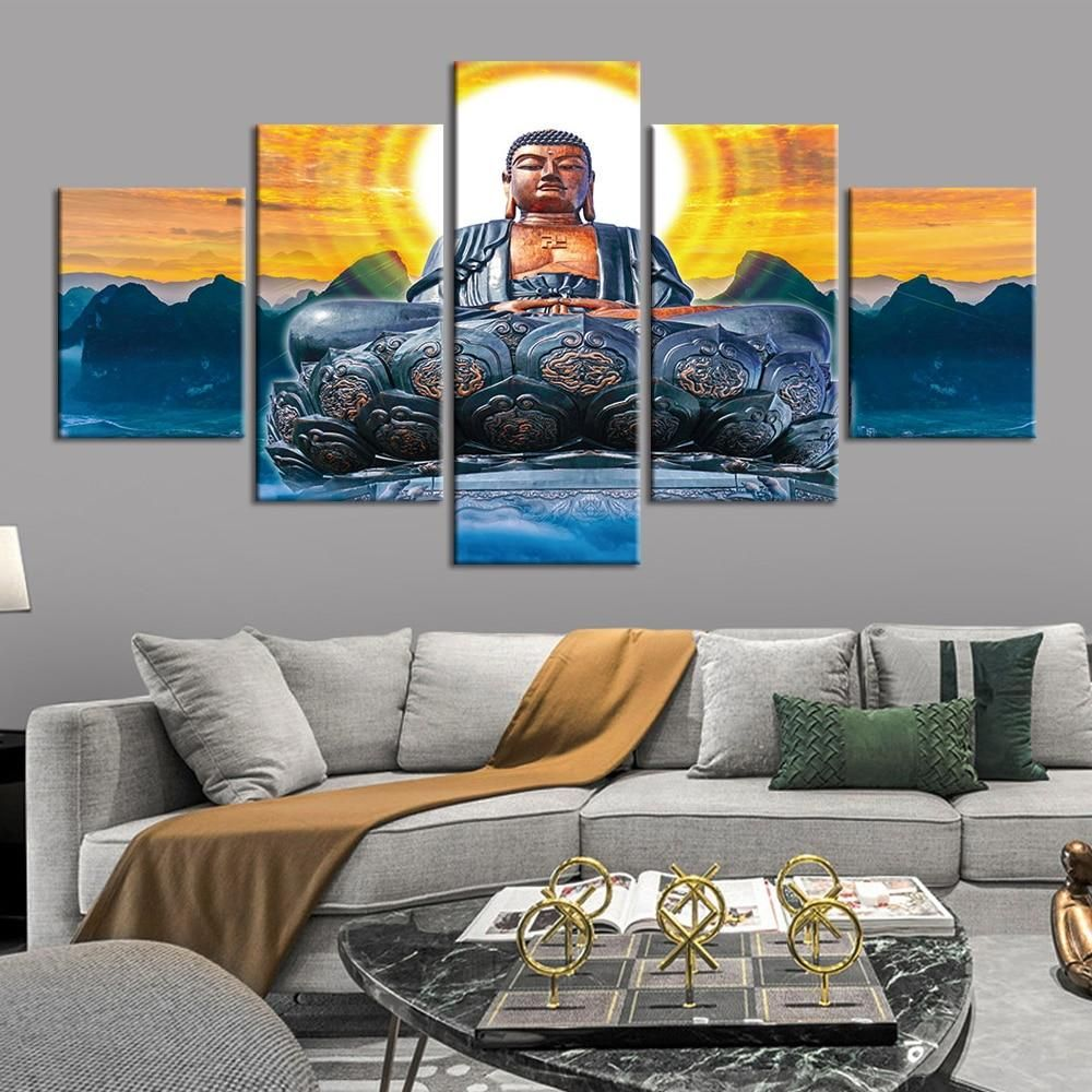 Buddha Painting 5 Panel Canvas Print Wall Art Poster