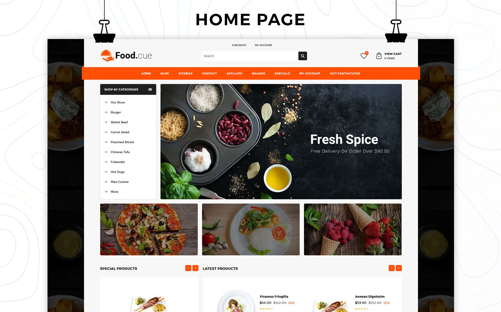 Foodcue The Fastfood Store Responsive OpenCart Template