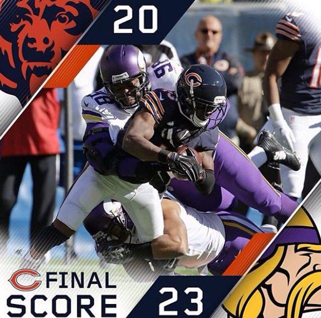 Final Score Bears 20 Vikings 23 Viking Life Chicago Bears Football Helmets