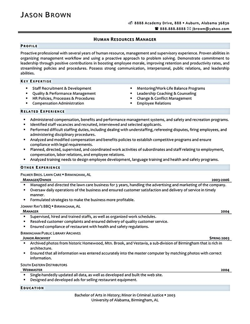 Human Resources Resume Sample Human Resources Resume That Represents Your True Skill And