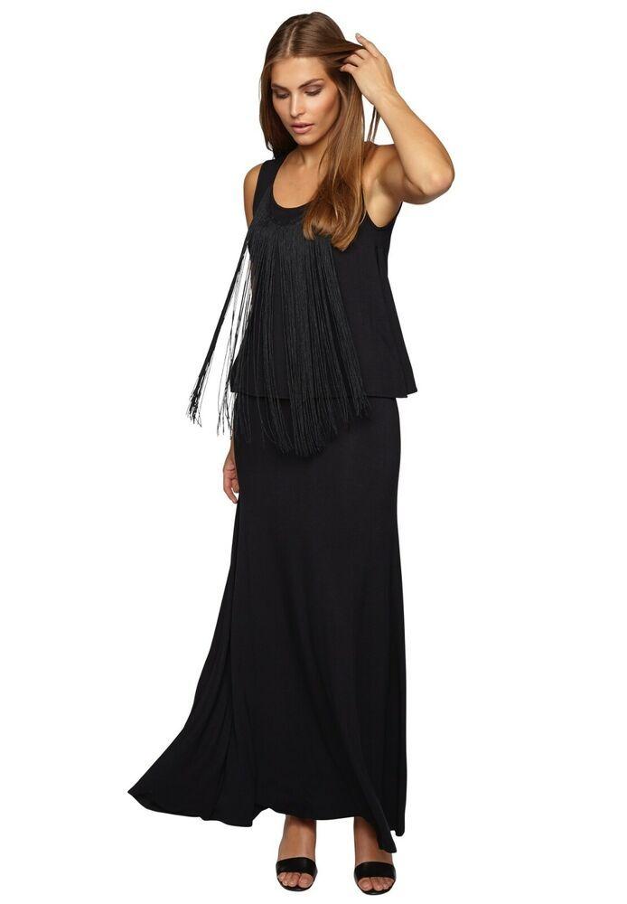 APART Jerseykleid Maxikleid Fransen Abendkleid 57776