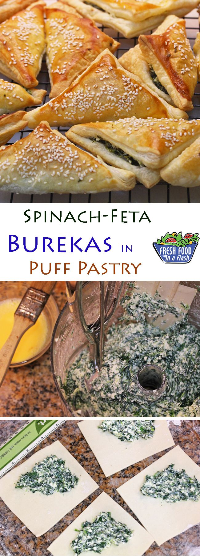 Joan Nathan's Spinach-Feta Burekas in Puff Pastry - Fresh Food In A Flash Appetizer