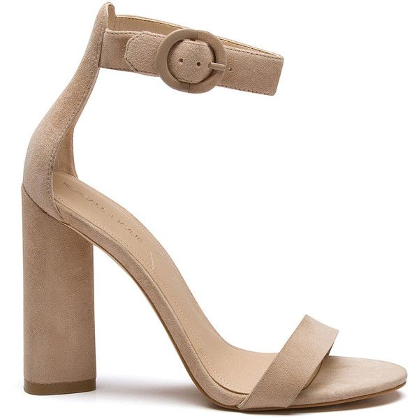 GISELLE LIGHT NATURAL SUEDE SANDAL (€115) ❤ liked on Polyvore featuring shoes, sandals, heeled sandals, high heels sandals, high heeled footwear, suede leather shoes and synthetic shoes