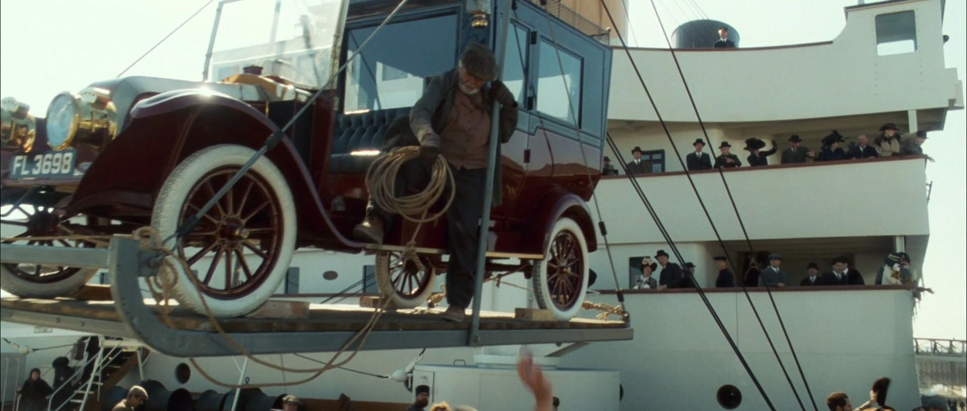 The Renault car being loaded Titanic, Titanic movie, Car