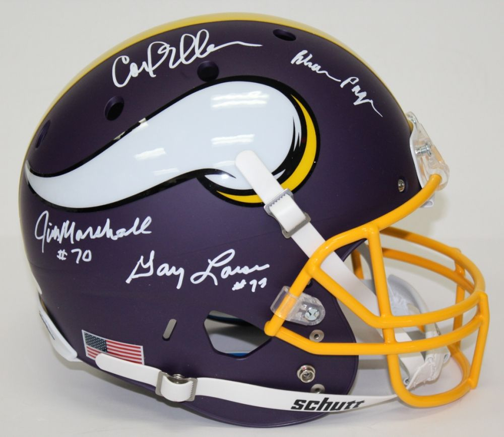 Vikings Purple People Eaters Custom Matte Full Size Helmet Signed By