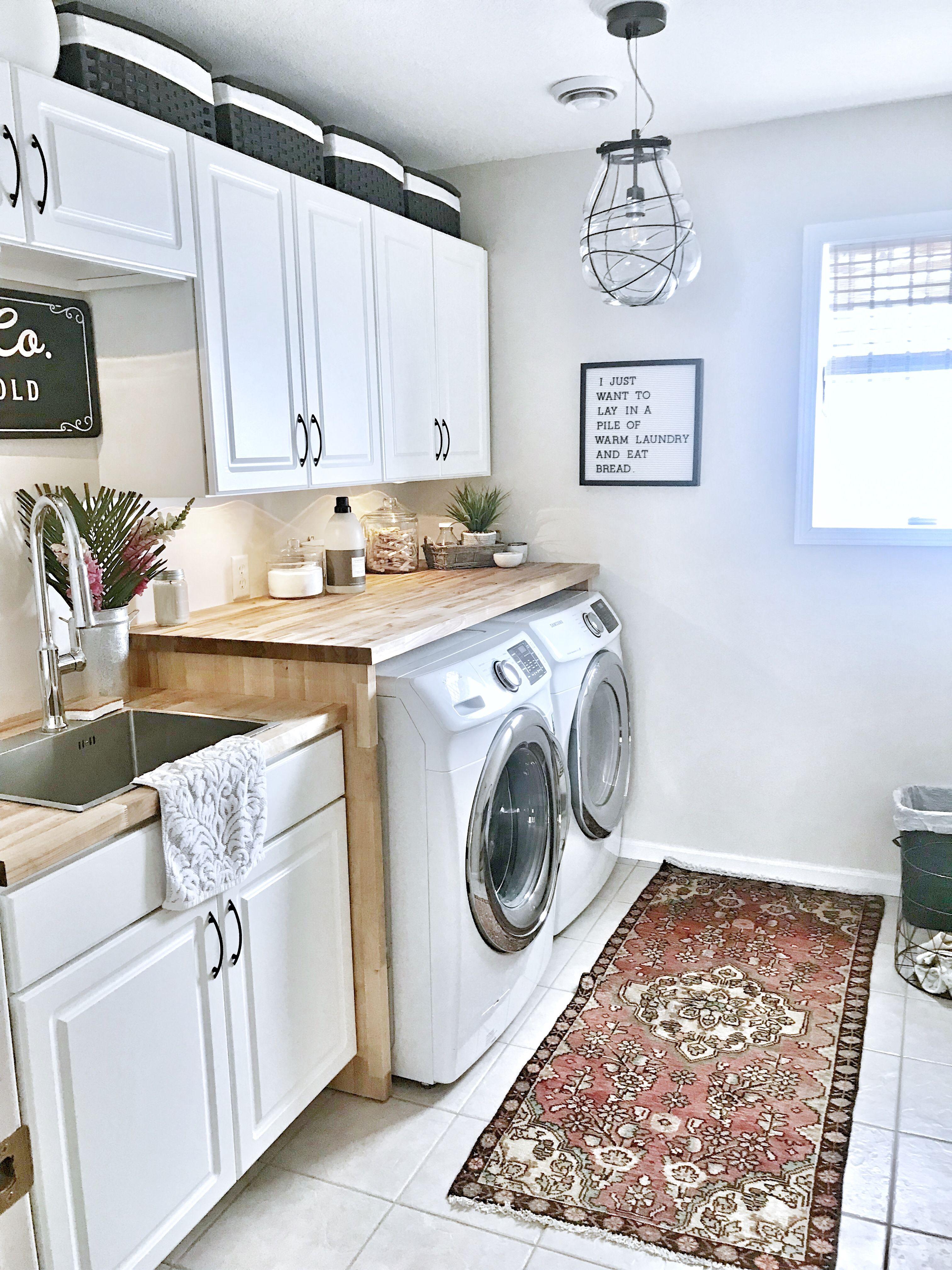 Laundry Room Vintage Rug West Elm Light Magnolia Sign Butcher