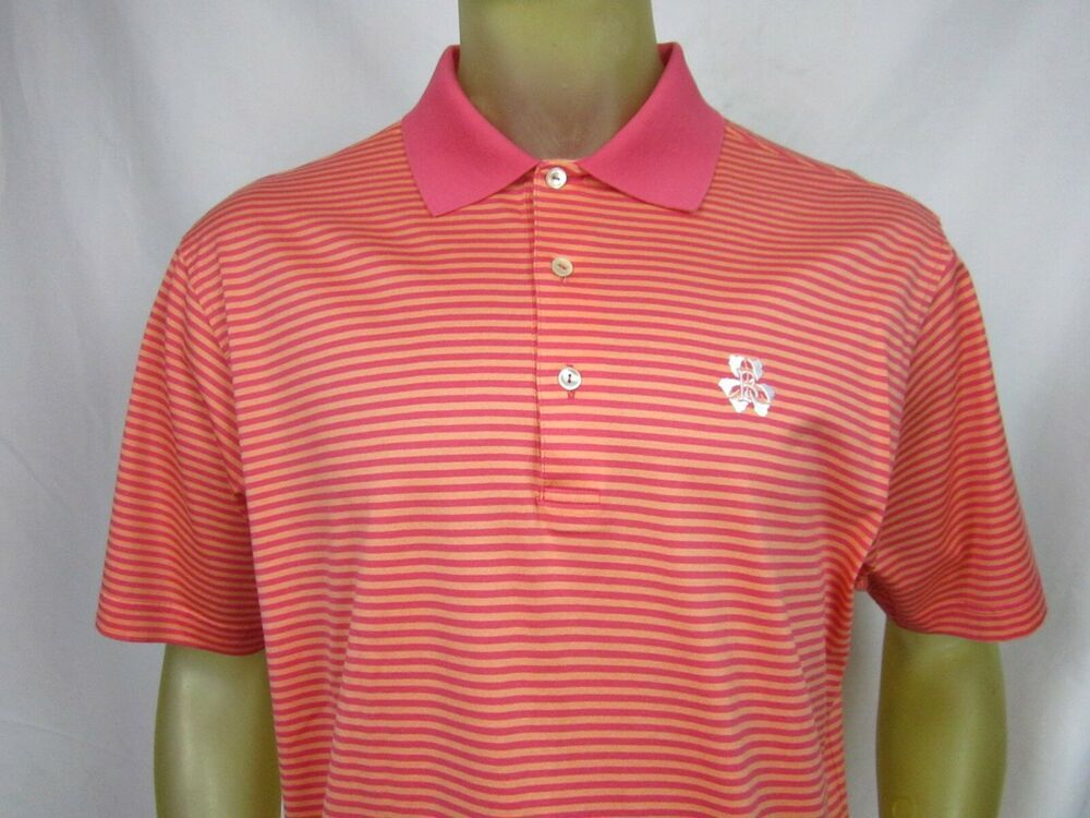 Peter Millar Mens Stripped Logo Polo Golf Shirt Size Large