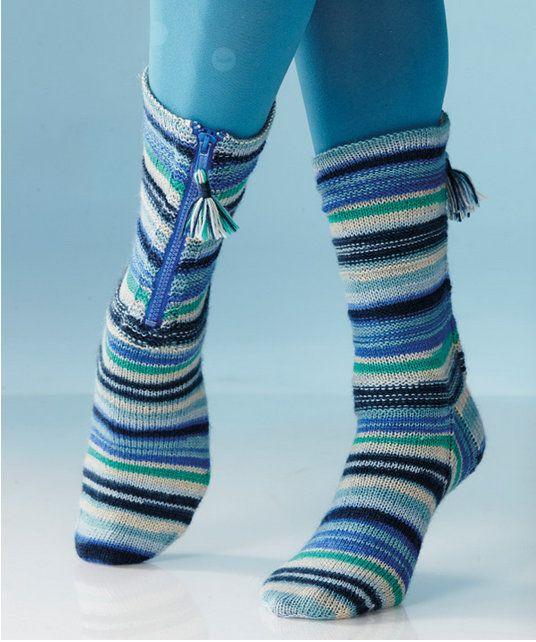 Zipper Socks in Regia 4 Ply Colour: http://www.mcadirect.com/shop ...