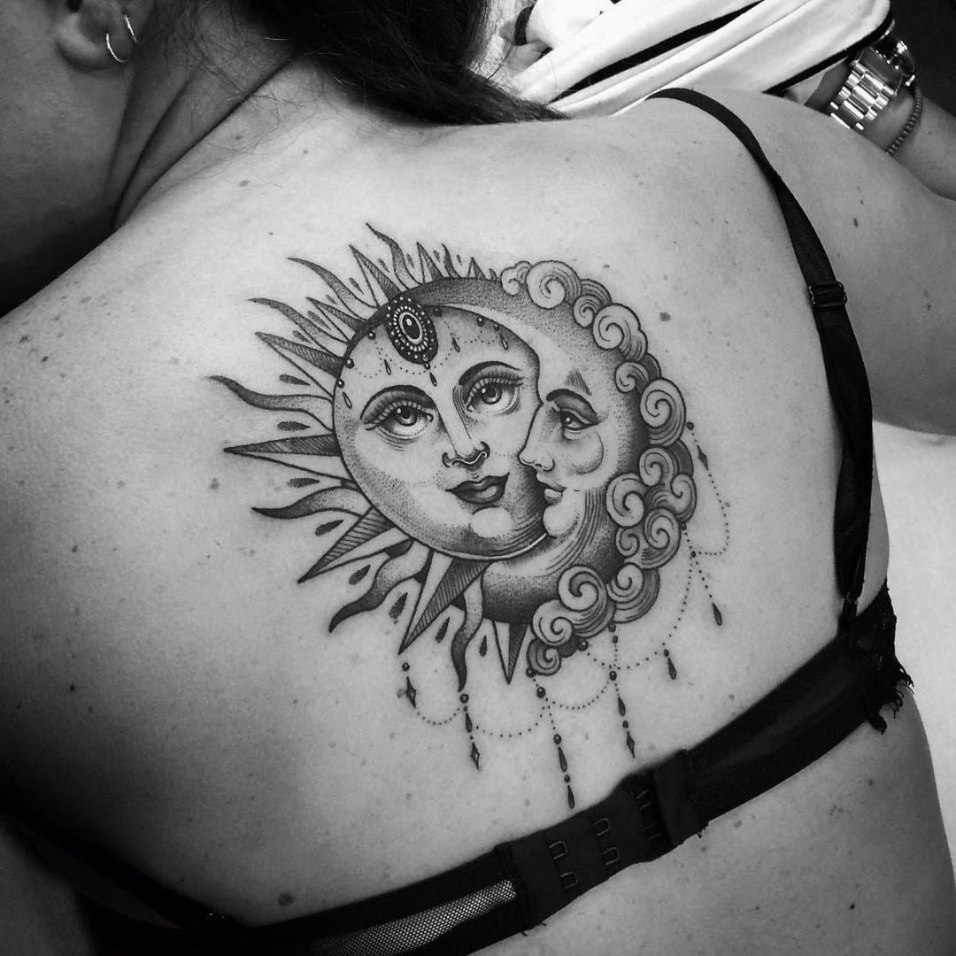 Tattoodo Sun And Moon Together At All By Flo Nuttall Flonuttall Fineline Linework Dotwork Moon Sun Ornamental Sun Tattoos Back Tattoo Trendy Tattoos
