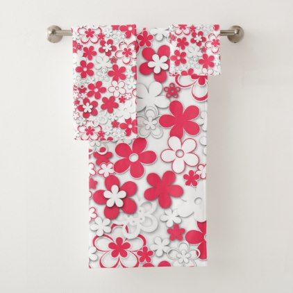 Red And White Paper Flowers Bath Towel Set
